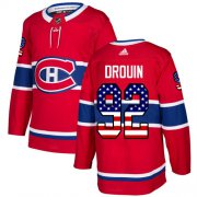 Wholesale Cheap Adidas Canadiens #92 Jonathan Drouin Red Home Authentic USA Flag Stitched NHL Jersey