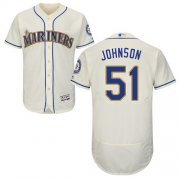 Wholesale Cheap Mariners #51 Randy Johnson Cream Flexbase Authentic Collection Stitched MLB Jersey