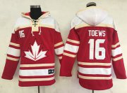 Wholesale Cheap Team CA. #16 Jonathan Toews Red Sawyer Hooded Sweatshirt 2016 World Cup Stitched NHL Jersey