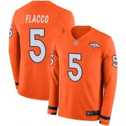 Wholesale Cheap Nike Broncos #5 Joe Flacco Orange Team Color Men's Stitched NFL Limited Therma Long Sleeve Jersey