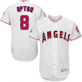 Wholesale Cheap Angels of Anaheim #8 Justin Upton White Flexbase Authentic Collection Stitched MLB Jersey