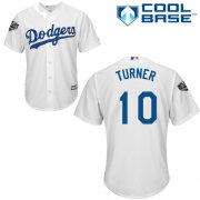 Wholesale Cheap Dodgers #10 Justin Turner White Cool Base 2018 World Series Stitched Youth MLB Jersey