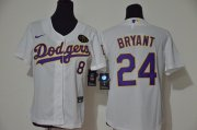 Wholesale Cheap Los Angeles Dodgers #8 #24 Kobe Bryant Youth Nike White Purple No. Cool Base 2020 KB Patch MLB Jersey