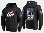Wholesale Cheap Hurricanes #53 Jeff Skinner NHL Banner Wave Usa Flag Black Hoodie