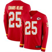 Wholesale Cheap Nike Chiefs #25 Clyde Edwards-Helaire Red Team Color Youth Stitched NFL Limited Therma Long Sleeve Jersey