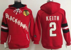 Wholesale Cheap Chicago Blackhawks #2 Duncan Keith Red Women\'s Old Time Heidi NHL Hoodie
