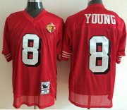 Wholesale Cheap Mitchell And Ness 50TH 49ers #8 Steve Young Red Stitched Throwback NFL Jersey