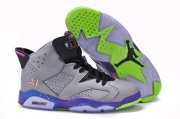 Wholesale Cheap Women's Jordan 6 Retro Shoes Cool gray/Purple-pink-green-blk
