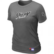 Wholesale Cheap Women's Chicago White Sox Nike Away Practice MLB T-Shirt Crow Grey
