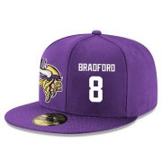 Wholesale Cheap Minnesota Vikings #8 Sam Bradford Snapback Cap NFL Player Purple with White Number Stitched Hat