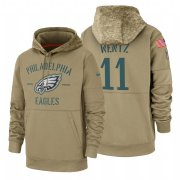Wholesale Cheap Philadelphia Eagles #11 Carson Wentz Nike Tan 2019 Salute To Service Name & Number Sideline Therma Pullover Hoodie