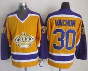 Wholesale Cheap Kings #30 Rogie Vachon Yellow CCM Throwback Stitched NHL Jersey