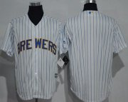 Wholesale Cheap Brewers Blank White(Blue Strip) New Cool Base Stitched MLB Jersey
