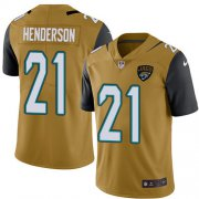 Wholesale Cheap Nike Jaguars #21 C.J. Henderson Gold Men's Stitched NFL Limited Rush Jersey