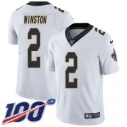 Wholesale Cheap Nike Saints #2 Jameis Winston White Men's Stitched NFL 100th Season Vapor Untouchable Limited Jersey