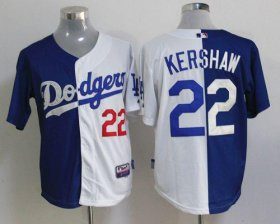 Wholesale Cheap Dodgers #22 Clayton Kershaw Blue/White Cool Base Stitched MLB Jersey