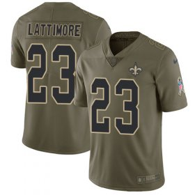 Wholesale Cheap Nike Saints #23 Marshon Lattimore Olive Youth Stitched NFL Limited 2017 Salute to Service Jersey