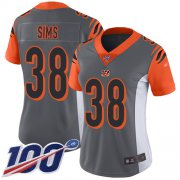 Wholesale Cheap Nike Bengals #38 LeShaun Sims Silver Women's Stitched NFL Limited Inverted Legend 100th Season Jersey