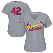 Wholesale Cheap St. Louis Cardinals #42 Majestic Women's 2019 Jackie Robinson Day Official Cool Base Jersey Gray