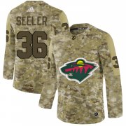 Wholesale Cheap Adidas Wild #36 Nick Seeler Camo Authentic Stitched NHL Jersey