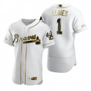 Wholesale Cheap Atlanta Braves #1 Ozzie Albies White Nike Men's Authentic Golden Edition MLB Jersey