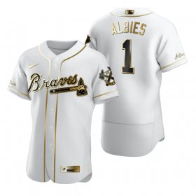 Wholesale Cheap Atlanta Braves #1 Ozzie Albies White Nike Men\'s Authentic Golden Edition MLB Jersey