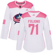 Wholesale Cheap Adidas Blue Jackets #71 Nick Foligno White/Pink Authentic Fashion Women's Stitched NHL Jersey