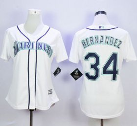 Wholesale Cheap Mariners #34 Felix Hernandez White Home Women\'s Stitched MLB Jersey