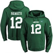 Wholesale Cheap Nike Jets #12 Joe Namath Green Name & Number Pullover NFL Hoodie