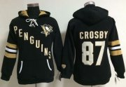 Wholesale Cheap Pittsburgh Penguins #87 Sidney Crosby Black Women's Old Time Heidi NHL Hoodie