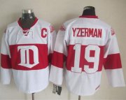 Wholesale Cheap Red Wings #19 Steve Yzerman White Winter Classic CCM Throwback Stitched NHL Jersey