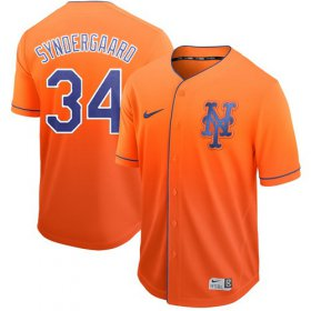 Wholesale Cheap Nike Mets #34 Noah Syndergaard Orange Fade Authentic Stitched MLB Jersey