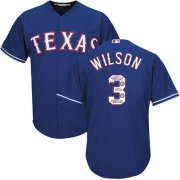 Wholesale Cheap Rangers #3 Russell Wilson Blue Team Logo Fashion Stitched MLB Jersey