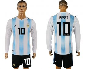 Wholesale Cheap Argentina #10 Messi Home Long Sleeves Soccer Country Jersey