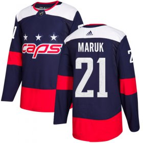 Wholesale Cheap Adidas Capitals #21 Dennis Maruk Navy Authentic 2018 Stadium Series Stitched NHL Jersey