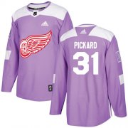 Wholesale Cheap Adidas Red Wings #31 Calvin Pickard Purple Authentic Fights Cancer Stitched NHL Jersey