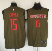 Wholesale Cheap Houston Rockets #15 Clint Cepela Olive Nike Swingman Jersey