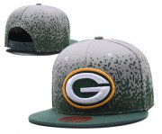 Wholesale Cheap NFL Green Bay Packers Fresh Logo Gray With Green Paint Snapback Adjustable Hat 1036