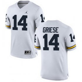 Wholesale Cheap Men\'s Michigan Wolverines #14 Brian Griese Retired White Stitched College Football Brand Jordan NCAA Jersey
