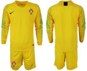 Wholesale Cheap Portugal Blank Yellow Goalkeeper Long Sleeves Soccer Country Jersey