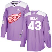 Wholesale Cheap Adidas Red Wings #43 Darren Helm Purple Authentic Fights Cancer Stitched NHL Jersey