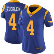 Wholesale Cheap Nike Rams #4 Greg Zuerlein Royal Blue Alternate Women's Stitched NFL Vapor Untouchable Limited Jersey