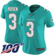 Wholesale Cheap Nike Dolphins #3 Josh Rosen Aqua Green Team Color Women's Stitched NFL 100th Season Vapor Limited Jersey