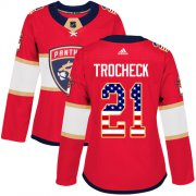 Wholesale Cheap Adidas Panthers #21 Vincent Trocheck Red Home Authentic USA Flag Women's Stitched NHL Jersey