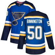 Wholesale Cheap Adidas Blues #50 Jordan Binnington Blue Home Authentic Stitched NHL Jersey