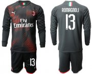 Wholesale Cheap AC Milan #13 Romagnoli Third Long Sleeves Soccer Club Jersey