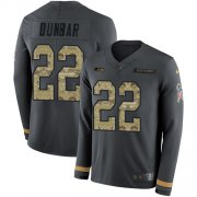 Wholesale Cheap Nike Seahawks #22 Quinton Dunbar Anthracite Salute to Service Youth Stitched NFL Limited Therma Long Sleeve Jersey