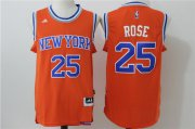 Wholesale Cheap Men's New York Knicks #25 Derrick Rose Orange Revolution 30 Swingman Basketball Jersey