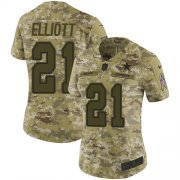 Wholesale Cheap Nike Cowboys #21 Ezekiel Elliott Camo Women's Stitched NFL Limited 2018 Salute to Service Jersey