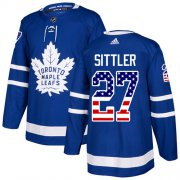 Wholesale Cheap Adidas Maple Leafs #27 Darryl Sittler Blue Home Authentic USA Flag Stitched NHL Jersey